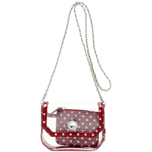 Chrissy Small Clear Crossbody Stadium Compliant Game Day Bag - Maroon and Silver