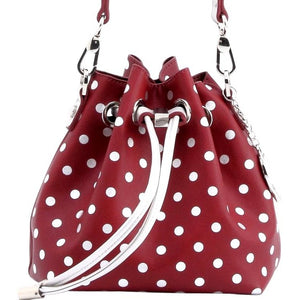 SCORE! Sarah Jean Small Crossbody Polka dot BoHo Bucket Bag - Maroon Crimson and Silver  University of Arkansas Little Rock Trojans, Sunbelt Rider University, New Jersey Broncs, A&M Aggies, Rider Broncs, Maryland Eastern Shore Hawks, North Carolina Central Eagles, Montana Grizzlies, St. Joseph's Hawks, Troy Trojans, Little Rock Trojans, Texas Southern Tigers,Texas A&M Aggies, University of Oklahoma UO Sooners, 