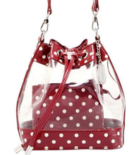 SCORE! Clear Sarah Jean Designer Stadium Shoulder Crossbody Purse Polka Dot Boho Bucket Game Day Bag Tote - Maroon Crimson and White