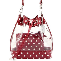 Sarah Jean Clear Bucket Handbag - Maroon and White