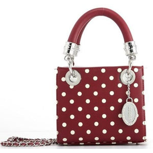 Jacqui Classic Satchel Polka Dot - Maroon and White