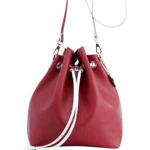 SCORE! Sarah Jean Designer Shoulder Crossbody Purse Solid Extra Large Boho Bucket Game Day Bag Tote - Maroon Crimson and White