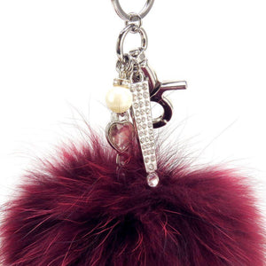 "Real Fur Puff Ball Pom-Pom 6"" Accessory Dangle Purse Charm - Maroon with Silver Hardware"