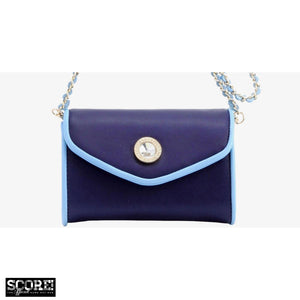SCORE! Eva Designer Crossbody Clutch - Navy Blue and Light Blue