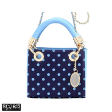 SCORE! Jacqui Classic Top Handle Crossbody Satchel  - Navy Blue and Light Blue