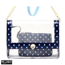 Chrissy Medium Clear Game Day Handbag - Navy Blue and Light Blue