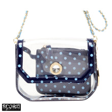 SCORE! Chrissy Small Designer Clear Crossbody Bag - Navy Blue and Light Blue