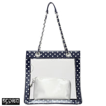 SCORE! Andrea Large Clear Designer Tote for School, Work, Travel - Navy Blue and White
