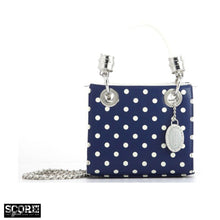Score! Jacqui Classic Top Handle Crossbody Satchel - Navy Blue and White