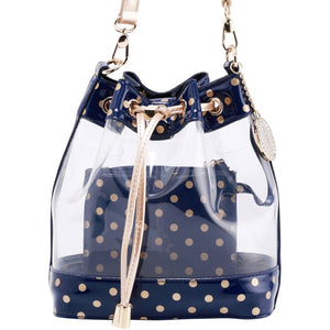 SCORE! Clear Sarah Jean Designer Crossbody Polka Dot Boho Bucket Bag-Navy Blue and Gold Gold