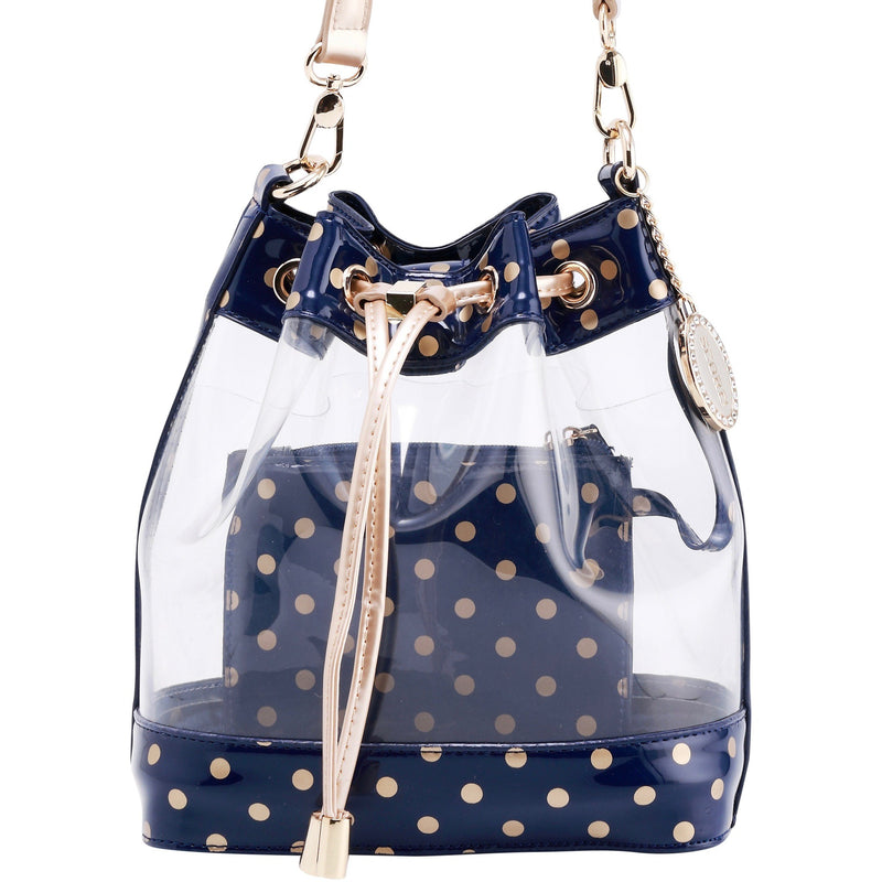 Sarah Jean Clear Bucket Handbag - Navy Blue and Metallic Gold
