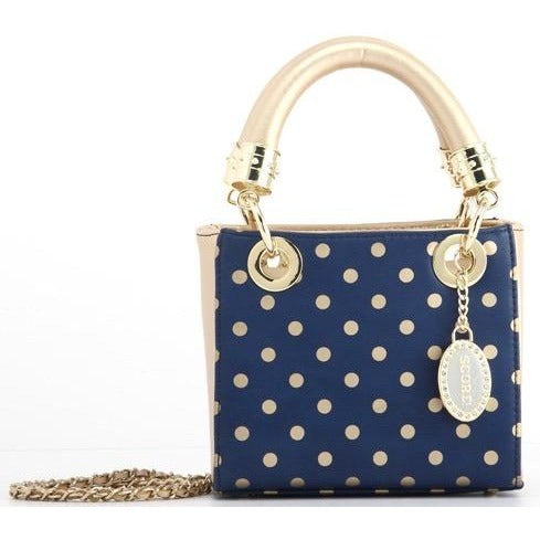Score! Jacqui Classic Top Handle Crossbody Satchel - Navy Blue and Gold