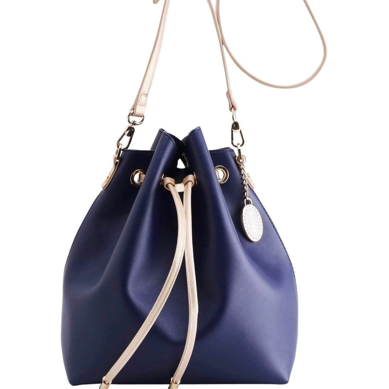 Sarah Jean Solid Bucket Handbag - Navy Blue and Metallic Gold