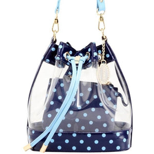 Sarah Jean Clear Bucket Handbag - Navy Blue and Light Blue