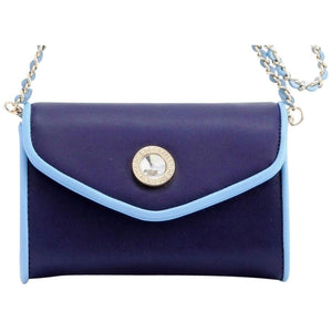Eva Classic Clutch - Navy Blue and Light Blue