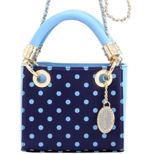 Jacqui Classic Satchel Polka Dot - Navy Blue and Light Blue