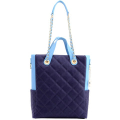 Kathi Travel Tote - Navy Blue and Light Blue