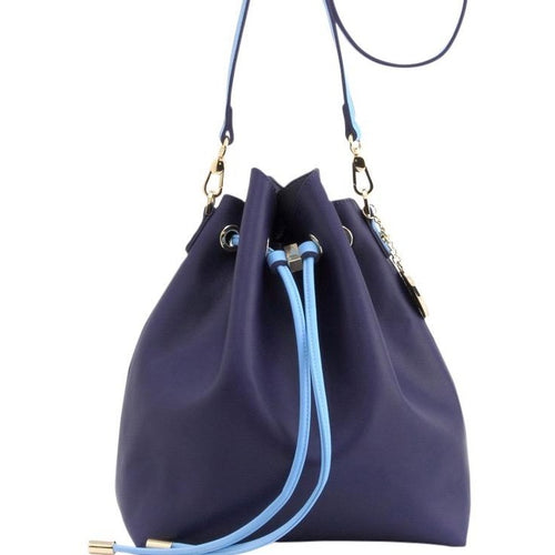 SCORE! Sarah Jean Designer Shoulder Crossbody Purse Solid Extra Large Boho Bucket Game Day Bag Tote - Navy Blue and Light Blue