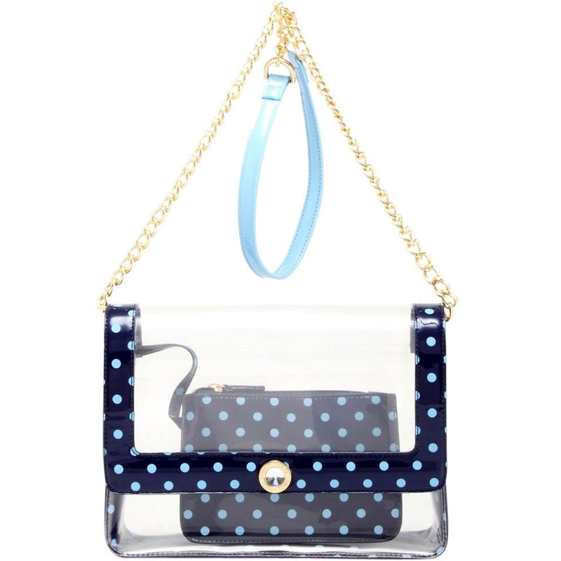Chrissy Medium Clear Game Day Handbag - Aurora Pink and French Blue