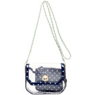 Chrissy Small Clear Game Day Handbag - Navy Blue and Light Blue