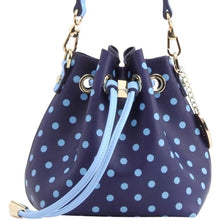 SCORE! Sarah Jean Designer Small Stadium Shoulder Crossbody Purse Polka Dot Boho Bucket Game Day Bag Tote - Navy Blue and Light Blue