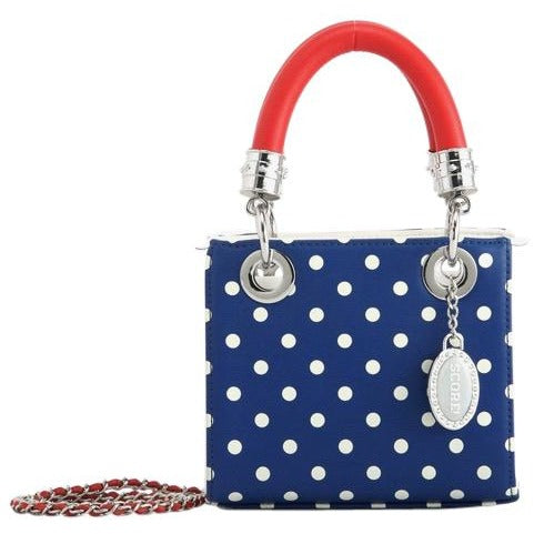 SCORE! Jacqui Classic Designer Stadium Approved Top Handle Satchel Polka Dot Detachable Chain Crossbody Square Game Day Bag Event Team Purse - Red, White and Blue