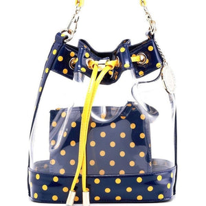 SCORE! Clear Sarah Jean Designer Stadium Shoulder Crossbody Purse Polka Dot Boho Bucket Game Day Bag Tote - Navy Blue and Gold Yellow