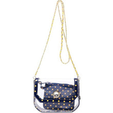 Chrissy Small Clear Crossbody Stadium Compliant Game Day Bag - Navy Blue and Gold - Yellow
