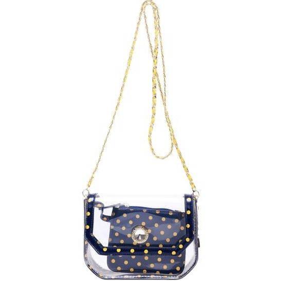 Chrissy Small Clear Game Day Handbag - Navy Blue and Yellow Gold