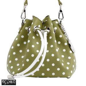 SCORE! Sarah Jean Designer Small Stadium Shoulder Crossbody Purse Polka Dot Boho Bucket Game Day Bag Tote - Olive Green and White Kappa Delta & US Army