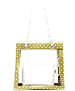 SCORE! Andrea Large Clear Designer Tote for School, Work, Travel - Olive Green and White