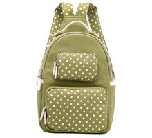 Natalie Michelle Backpack Large - Olive Green and White