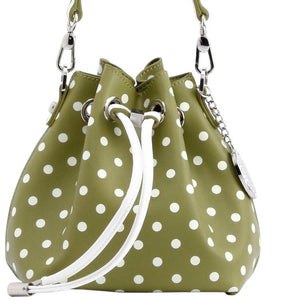 SCORE! Sarah Jean Small Crossbody Polka dot BoHo Bucket Bag - Olive Green and White  Kappa Delta sorority, Portland State University Oregon Vikings, US Army