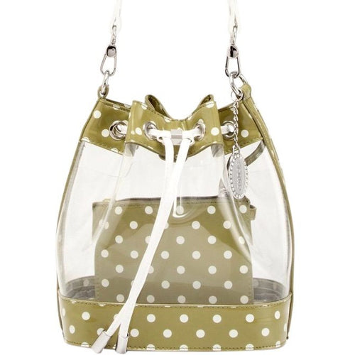 SCORE! Clear Sarah Jean Designer Crossbody Polka Dot Boho Bucket Bag-Olive Green and White