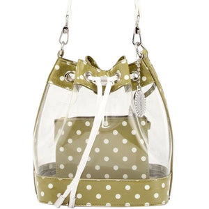 SCORE! Clear Sarah Jean Designer Stadium Shoulder Crossbody Purse Polka Dot Boho Bucket Game Day Bag Tote - Olive Green and White Kappa Delta US Army
