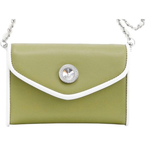 SCORE! Eva Classic Designer Stadium Approved Small Clutch Detachable Chain Crossbody Game Day Bag Event Team Sorority Purse - Olive Green and White