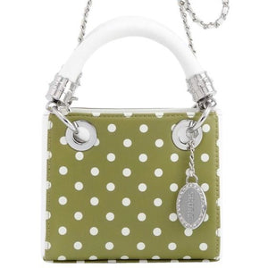 Jacqui Classic Satchel Polka Dot - Olive Green and White