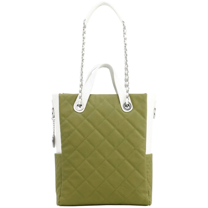 Kathi Travel Tote - Olive Green and White