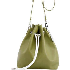 Sarah Jean Solid Bucket Handbag - Olive Green and White