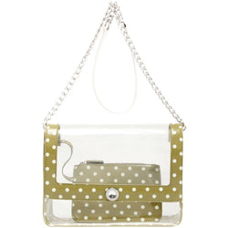 Chrissy Medium Clear Game Day Handbag - Olive Green and White