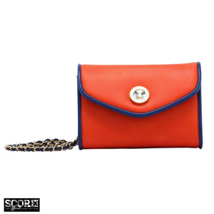 SCORE! Eva Designer Crossbody Clutch- Orange and Blue