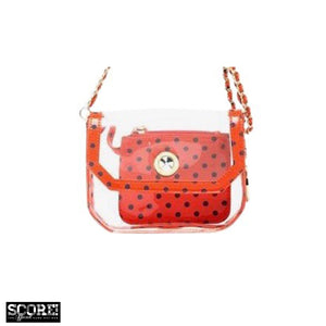 SCORE! Chrissy Small Designer Clear Crossbody Bag - Orange and Blue