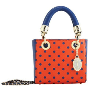 Jacqui Classic Satchel Polka Dot - Orange and Navy Blue