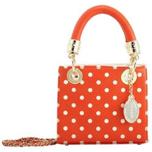 SCORE! Jacqui Classic Designer Stadium Approved Top Handle Satchel Polka Dot Detachable Chain Crossbody Square Game Day Bag Event Team Purse - Bright Orange and White