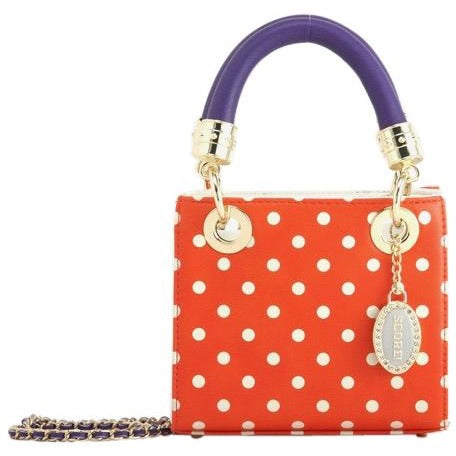 Jacqui Classic Satchel Polka Dot - Orange, White and Royal Purple