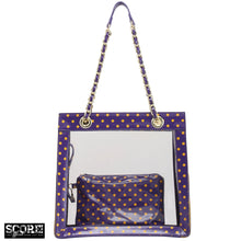 SCORE! Andrea Large Clear Designer Tote for School, Work, Travel - Royal Purple and  Yellow Gold