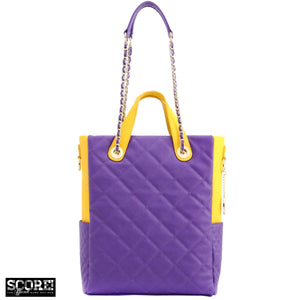 SCORE!'s Kat Travel Tote for Business, Work, or School Quilted Shoulder Bag - Purple and Gold Yellow