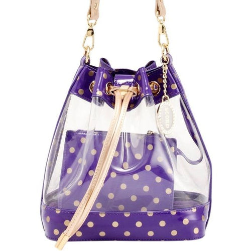 SCORE! Clear Sarah Jean Designer Stadium Shoulder Crossbody Purse Polka Dot Boho Bucket Game Day Bag Tote - Purple and Gold Gold