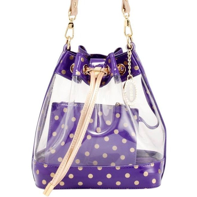 Sarah Jean Clear Bucket Handbag - Royal Purple and Metallic Gold