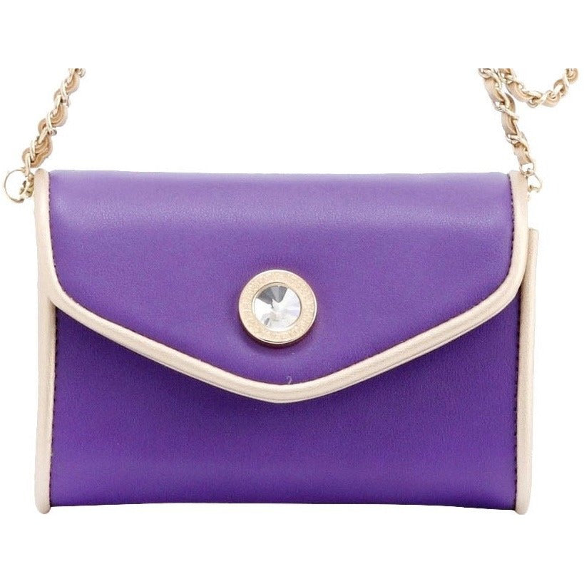 Eva Classic Clutch - Royal Purple and Metallic Gold